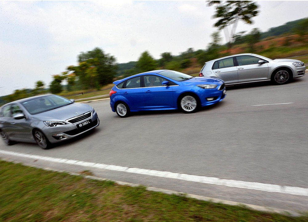 Ford Focus vs VW Golf vs Peugeot 308 THP