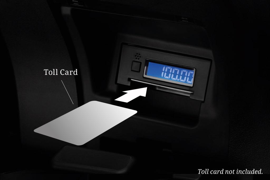 Built-in toll card reader.