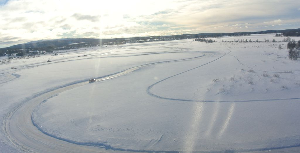 The driving track on the frozen lake.