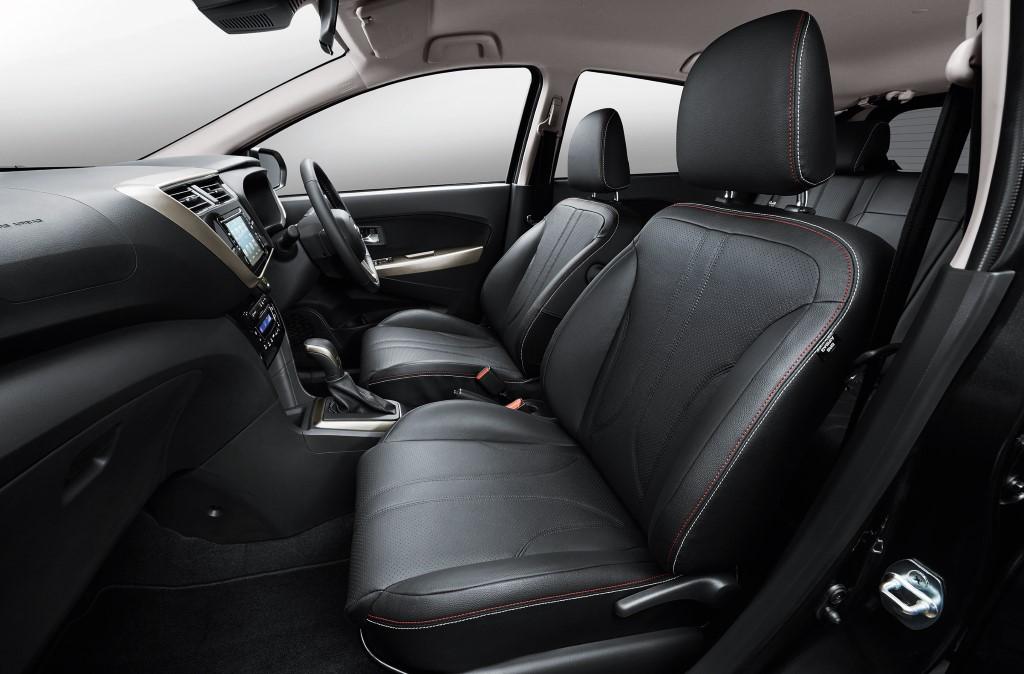 Leather seats on the Myvi 1.5 Advanced.