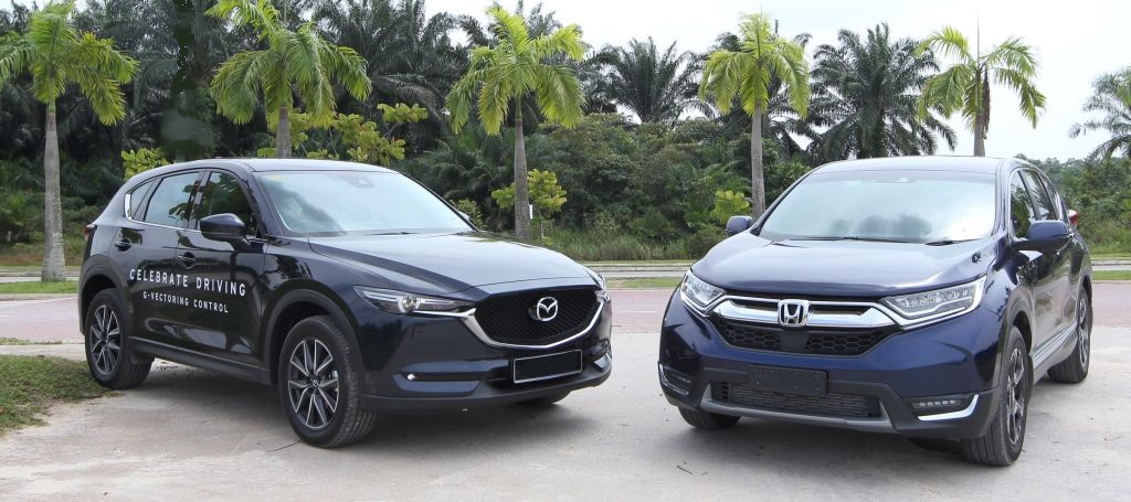 The CX-5 (left) and CR-V.