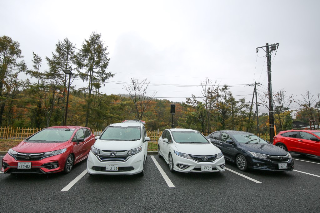 Test drive of Honda cars with the Sport Hybrid i-DCD powertrain; From left - the Honda Fit (Jazz equivalent here), Freed, Jade and Grace (City equivalent here).