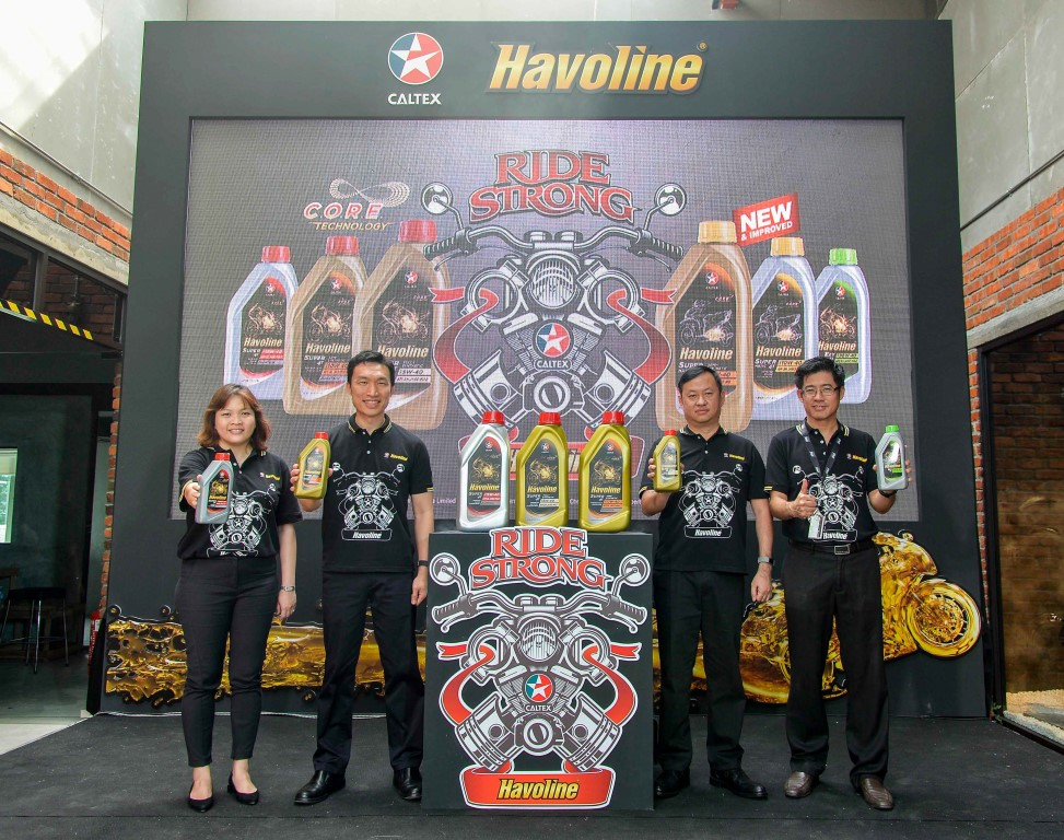 Lauching the new range of Caltex Havoline motorcycle oils: (from left) Chevron Lubricants regional technology specialist (Asia Pacific) Lim Jing Jing, regional marketing manager (Asia Pacific) Lennard Kwek, sales manager (Indonesia, Malaysia and Singapore) Soegeng Rahardjo and Chevron Malaysia Ltd channel sales manager Leslie Chong.