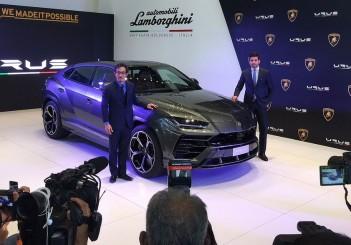Lamborghini Kuala Lumpur chief operating officer Marcus Chye (left) and Lamborghini area manager (Southeast Asia) Davide Sfrecola at the launch of the Urus SUV in Kuala Lumpur on March 15, 2018.