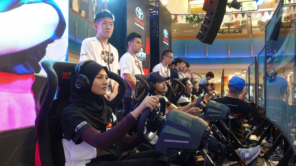 Toyota Gazoo Racing celebrities trying their hand at the eSport racing event.