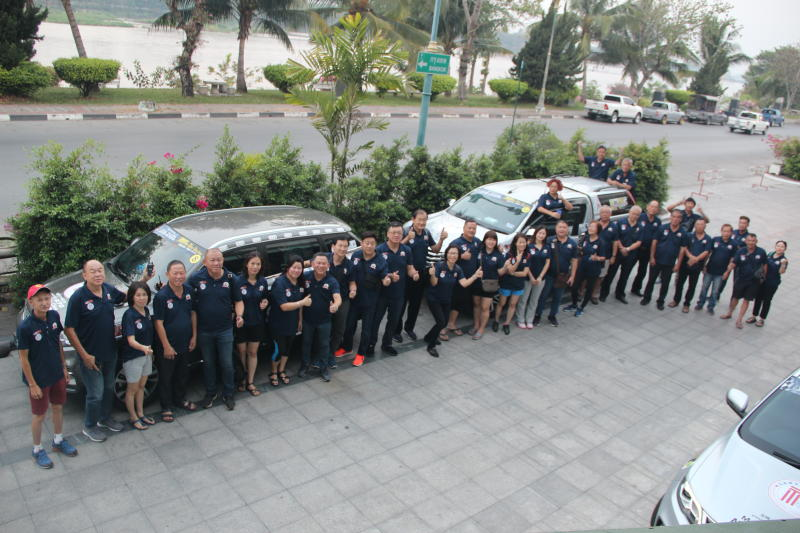 The Borneo Leisure Touring Team are posing for a group photo before departing for Chiang Khong.