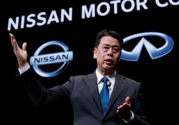 Nissan Motor chief executive Makoto Uchida speaks during a news conference at Nissan Motor headquarters in Yokohama
