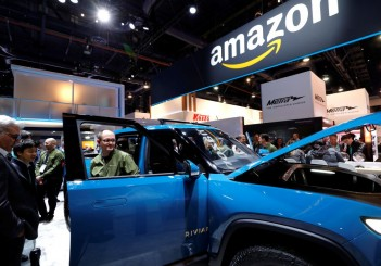 A Rivian electric pickup truck with built-in Alexa is displayed in the Amazon Automotive during the 2020 CES in Las Vegas