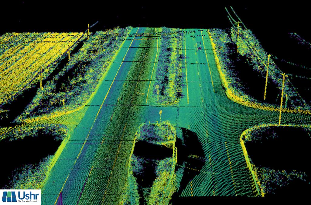 Lidar map image of a US highway.