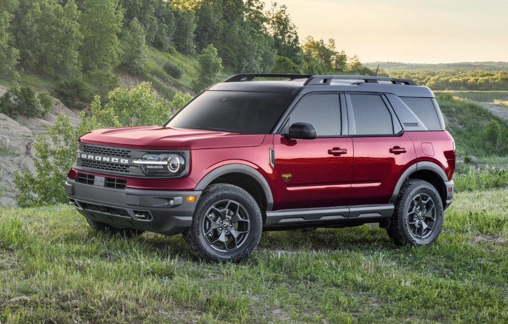 The all-new Bronco Sport Badlands series in Rapid Red Metallic Tinted Clearcoat. (Pre-production model pictured.)