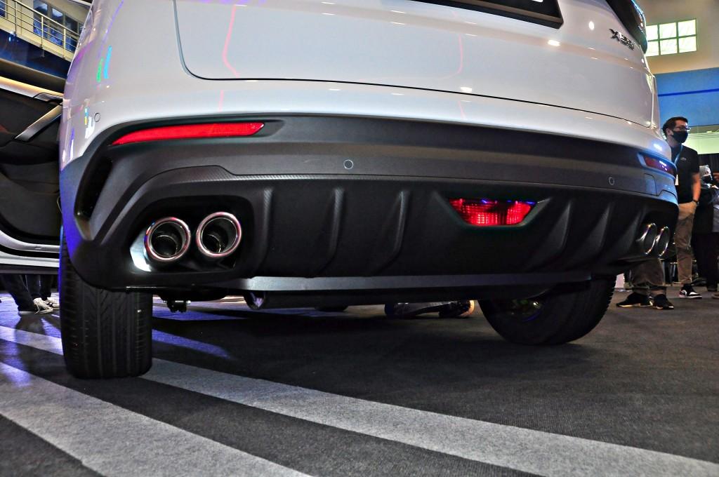 The X50 has round, quad exhaust tips.